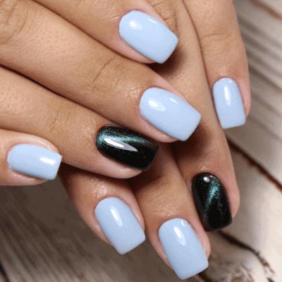 blau metallic Nägel für Herbst und Winter