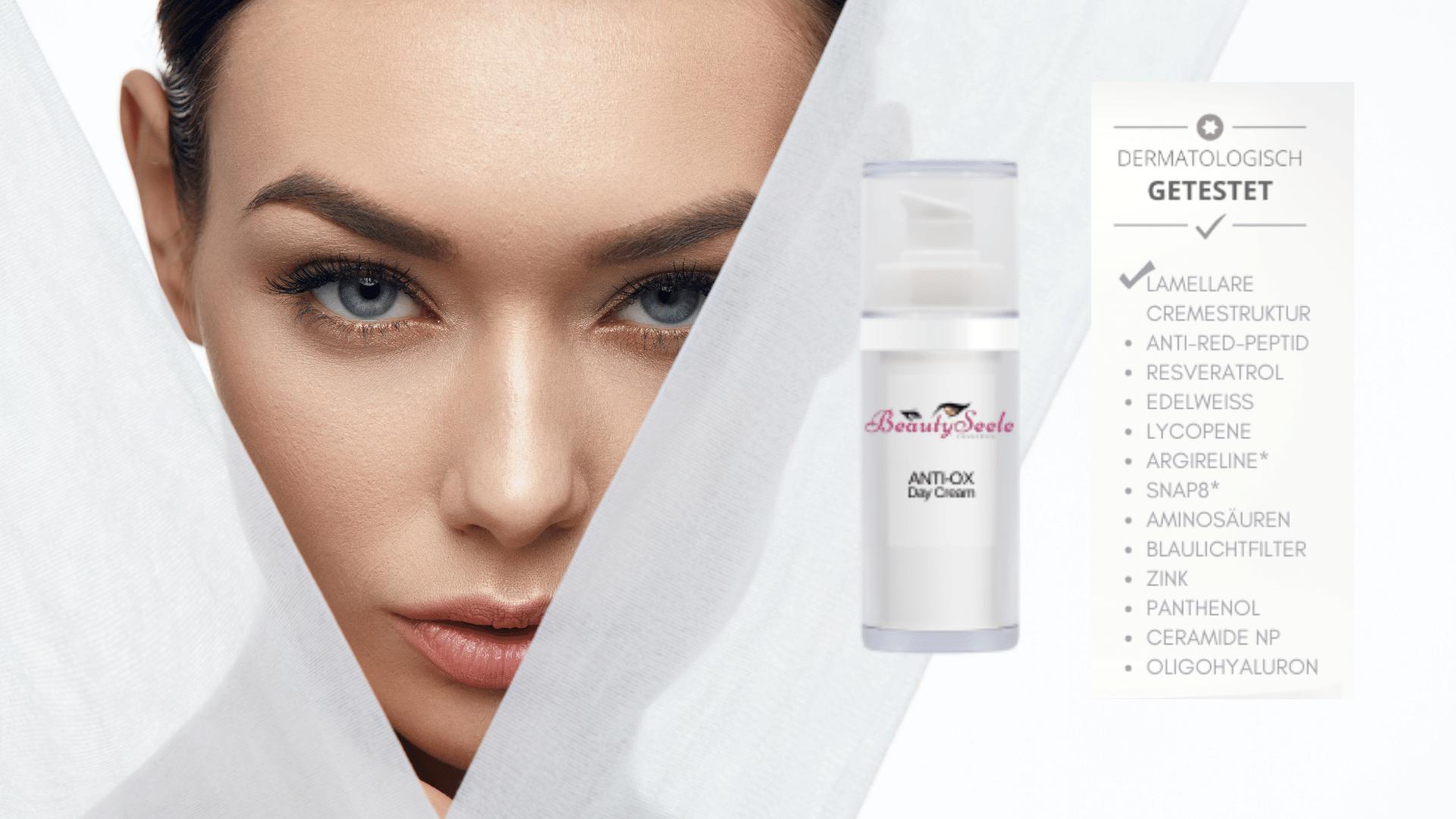 Verfahren für natürliches Strahlen mit der Hautpflege
